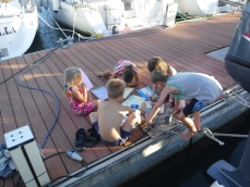 water colours on the dock with other kids